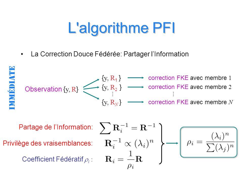 L algorithme PFI La Correction Douce Fédérée: Partager lInformation Observation { y, R } correction FKE avec membre 1 correction FKE avec membre 2 correction FKE avec membre N immédiate { y, R 1 } { y, R 2 } { y, R N } … … Partage de lInformation: Coefficient Fédératif i : Privilège des vraisemblances: