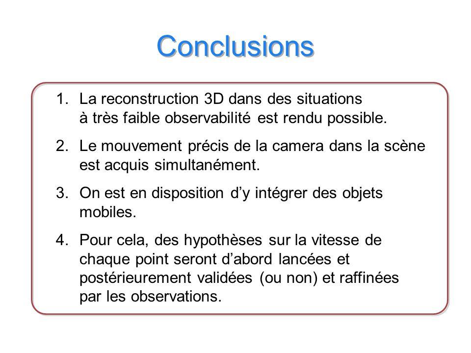 Conclusions 1.La reconstruction 3D dans des situations à très faible observabilité est rendu possible.