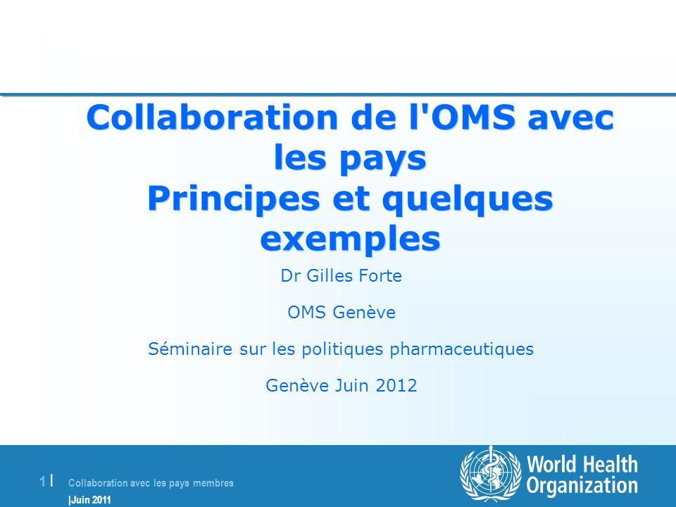 Collaboration avec les pays membres |Juin 2011 2 |2 | Plan stratégique à moyen terme 2008-2013 Objectif stratégique (SO-11) : Améliorer l accès aux médicaments essentiels et aux produits de santé ainsi que leur qualité et leur utilisation; Contribuer à l accès universel à la santé; et à l atteinte des Objectifs du Millénaire pour le développement (OMD) relatifs à la Santé: 4, 5, 6 et 8; Rèsultats escomptés à l échelle de l Organisation : (OWERs) 11.1 Plaidoyer et collaboration avec les pays pour la formulation, la mise en oeuvre et le suivi des politiques nationales concernant l accès aux médicaments essentiels et produits de santé, leur qualité et leur utilisation; 11.2 Elaboration de lignes directrices, normes et critères internationaux concernant la qualité, l innocuité, l efficacité des médicaments essentiels et produits de santé; plaidoyer et collaboration avec les pays en faveur de leur application au niveau national et régional; 11.3 Sélection des médicaments essentiels et produits de santé sur la base de données factuelles et promotion d orientations politiques pour inciter les agents de santé et les patients à faire un bon usage des médicaments essentiels et produits de santé.