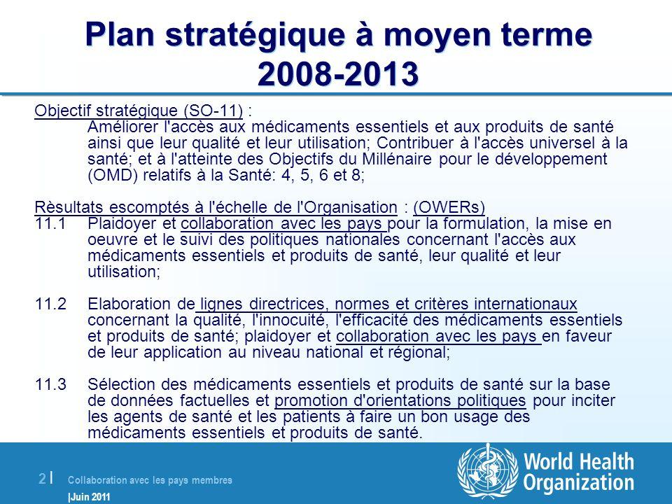 Collaboration avec les pays membres |Juin 2011 3 |3 | OMS: 193 Etats Membres 6 Bureaux Régionaux = Conseillers Médicaments centres Collaborateurs