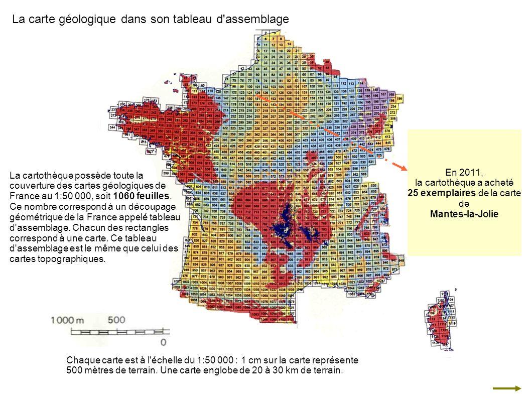La cartothèque possède toute la couverture des cartes géologiques de France au 1:50 000, soit 1060 feuilles. Ce nombre correspond à un découpage géomé
