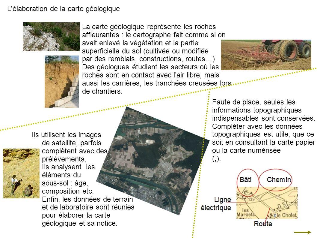 Ils utilisent les images de satellite, parfois complètent avec des prélèvements. Ils analysent les éléments du sous-sol : âge, composition etc. Enfin,