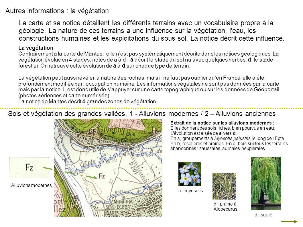 Autres informations : la végétation La carte et sa notice détaillent les différents terrains avec un vocabulaire propre à la géologie. La nature de ce