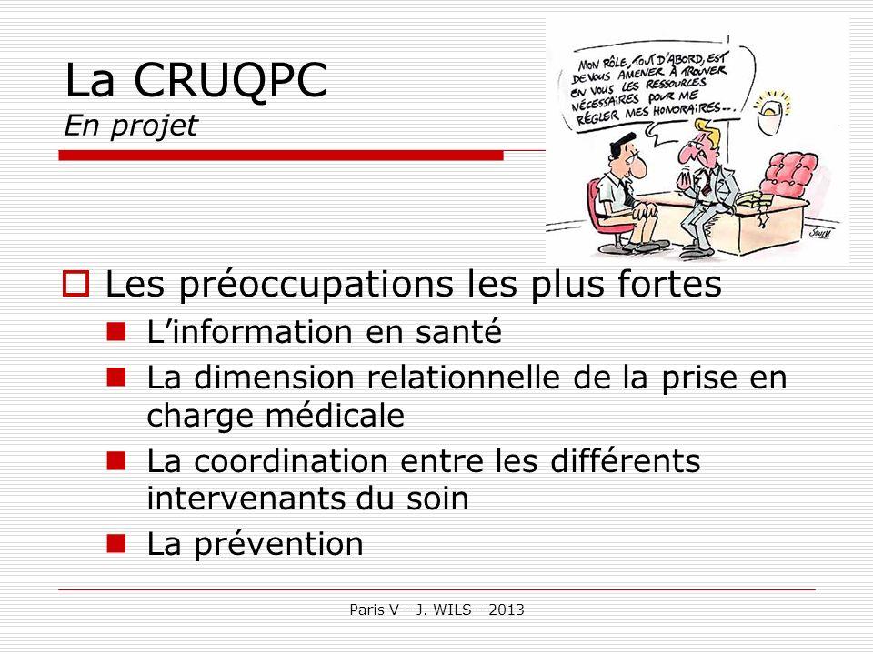 Paris V - J. WILS - 2013 La CRUQPC En projet Les préoccupations les plus fortes Linformation en santé La dimension relationnelle de la prise en charge