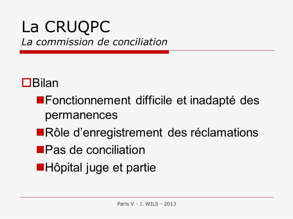 Paris V - J. WILS - 2013 La CRUQPC La commission de conciliation Bilan Fonctionnement difficile et inadapté des permanences Rôle denregistrement des r