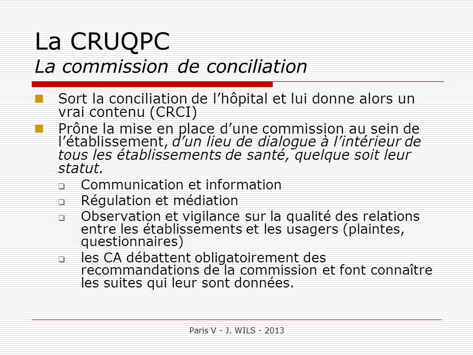 Paris V - J. WILS - 2013 La CRUQPC La commission de conciliation Sort la conciliation de lhôpital et lui donne alors un vrai contenu (CRCI) Prône la m