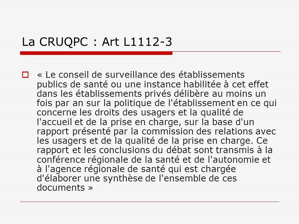 La CRUQPC : Art L1112-3 « Le conseil de surveillance des établissements publics de santé ou une instance habilitée à cet effet dans les établissements