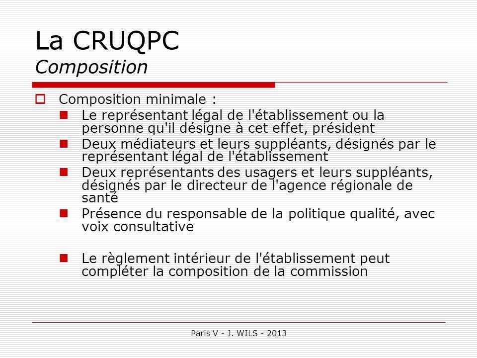 Paris V - J. WILS - 2013 La CRUQPC Composition Composition minimale : Le représentant légal de l'établissement ou la personne qu'il désigne à cet effe