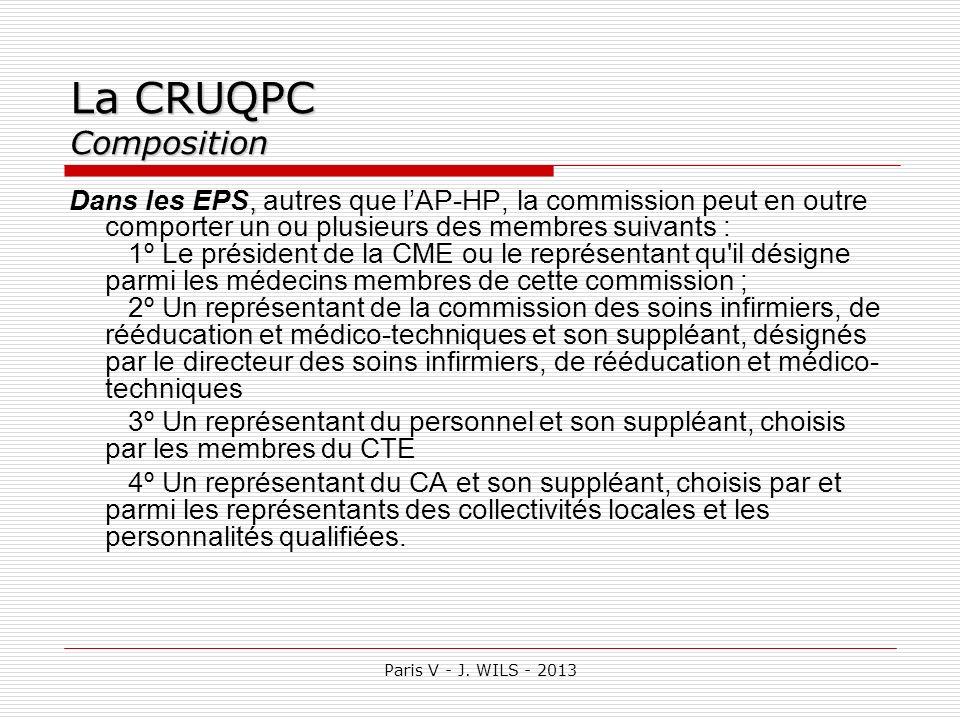 Paris V - J. WILS - 2013 La CRUQPC Composition, Dans les EPS, autres que lAP-HP, la commission peut en outre comporter un ou plusieurs des membres sui