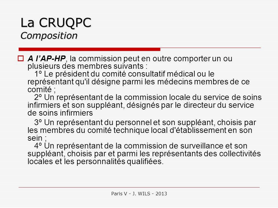Paris V - J. WILS - 2013 La CRUQPC Composition A lAP-HP, la commission peut en outre comporter un ou plusieurs des membres suivants : 1º Le président