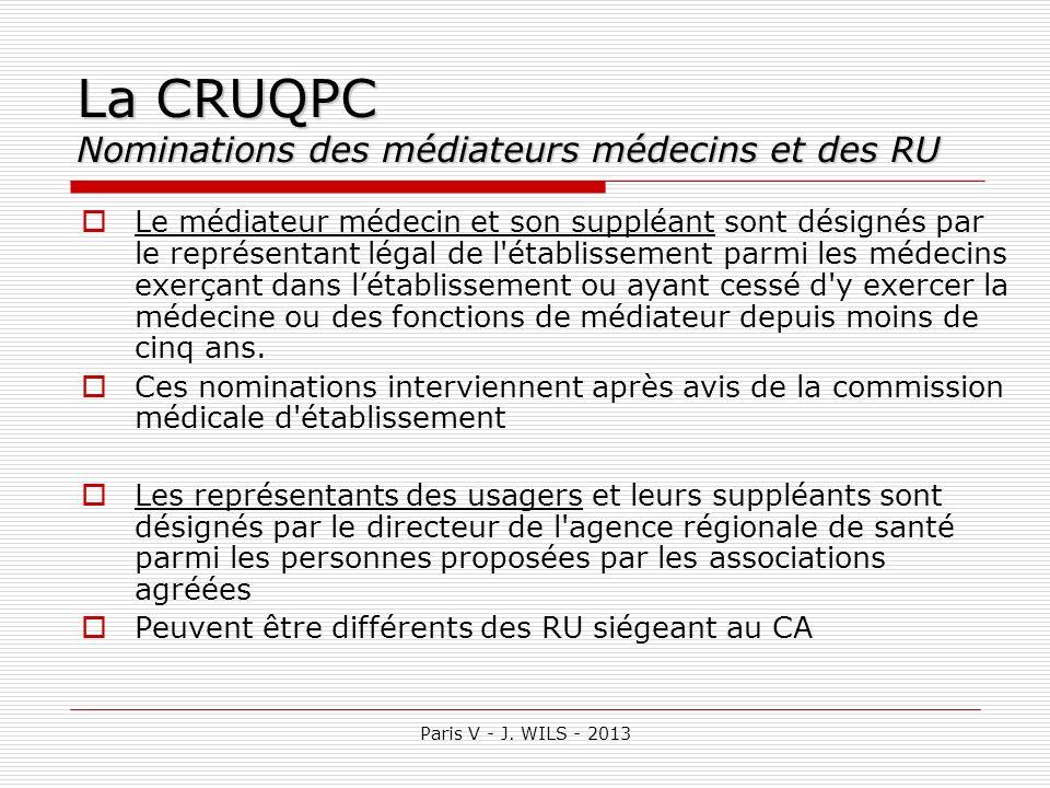 Paris V - J. WILS - 2013 La CRUQPC Nominations des médiateurs médecins et des RU Le médiateur médecin et son suppléant sont désignés par le représenta