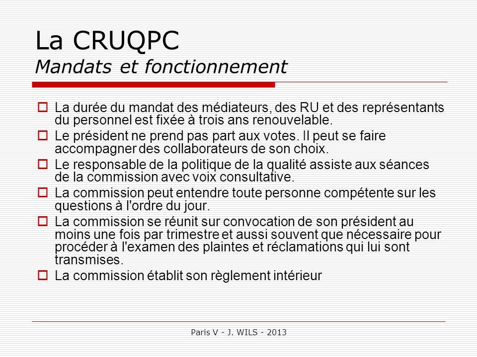 Paris V - J. WILS - 2013 La CRUQPC Mandats et fonctionnement La durée du mandat des médiateurs, des RU et des représentants du personnel est fixée à t
