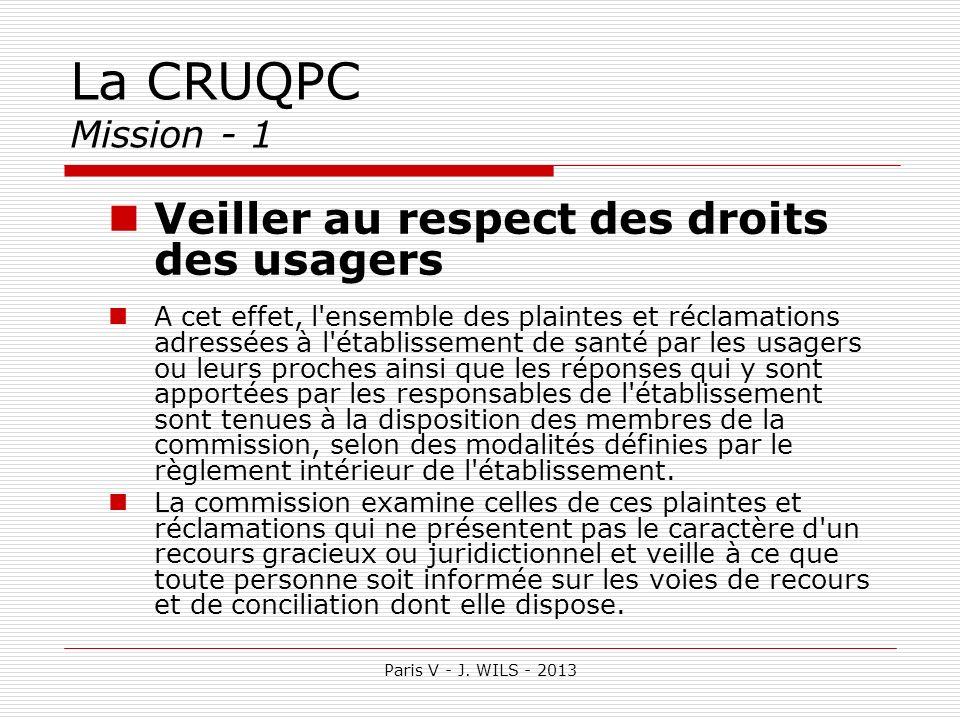 La CRUQPC Mission - 1 Veiller au respect des droits des usagers A cet effet, l'ensemble des plaintes et réclamations adressées à l'établissement de sa