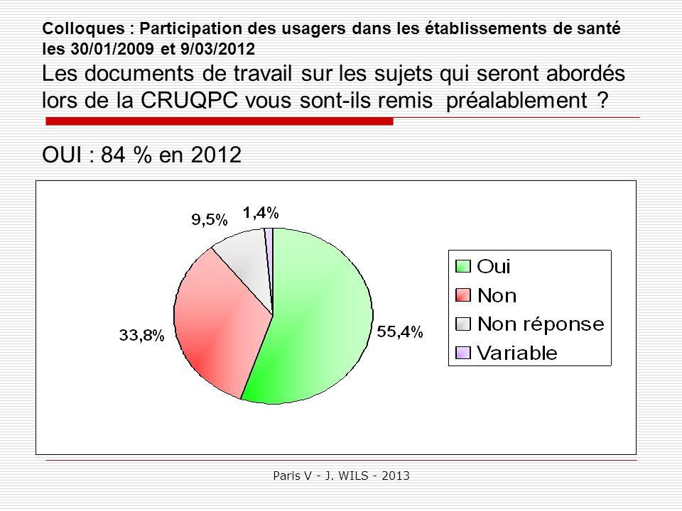 Paris V - J. WILS - 2013 Colloques : Participation des usagers dans les établissements de santé les 30/01/2009 et 9/03/2012 Les documents de travail s