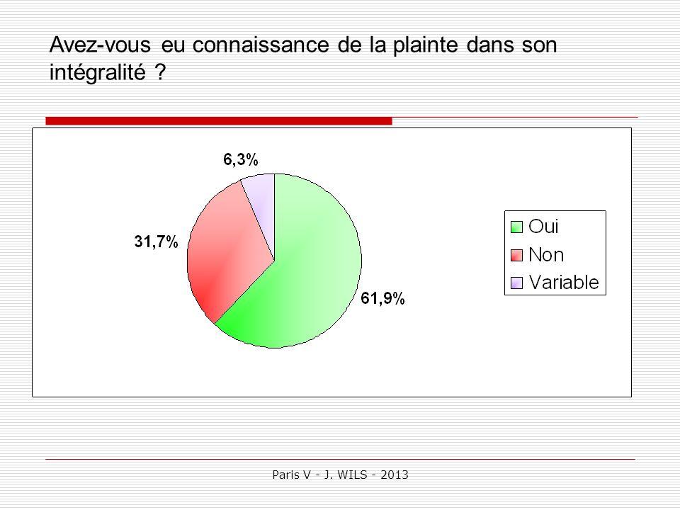 Paris V - J. WILS - 2013 Avez-vous eu connaissance de la plainte dans son intégralité ?