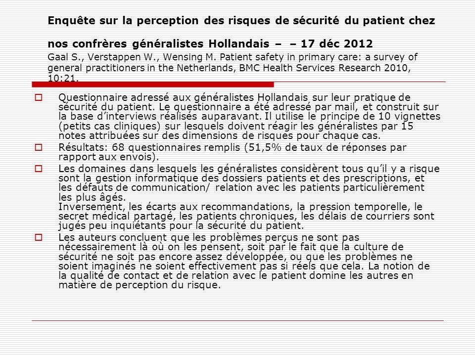 Enquête sur la perception des risques de sécurité du patient chez nos confrères généralistes Hollandais – – 17 déc 2012 Gaal S., Verstappen W., Wensin