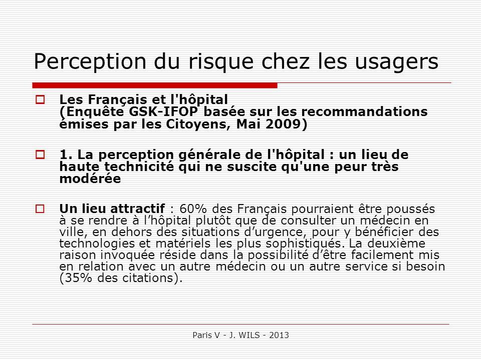 Paris V - J. WILS - 2013 Perception du risque chez les usagers Les Français et l'hôpital (Enquête GSK-IFOP basée sur les recommandations émises par le