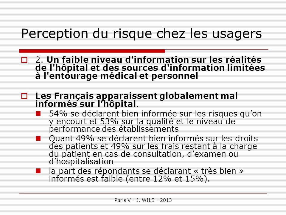 Paris V - J. WILS - 2013 Perception du risque chez les usagers 2. Un faible niveau d'information sur les réalités de l'hôpital et des sources d'inform