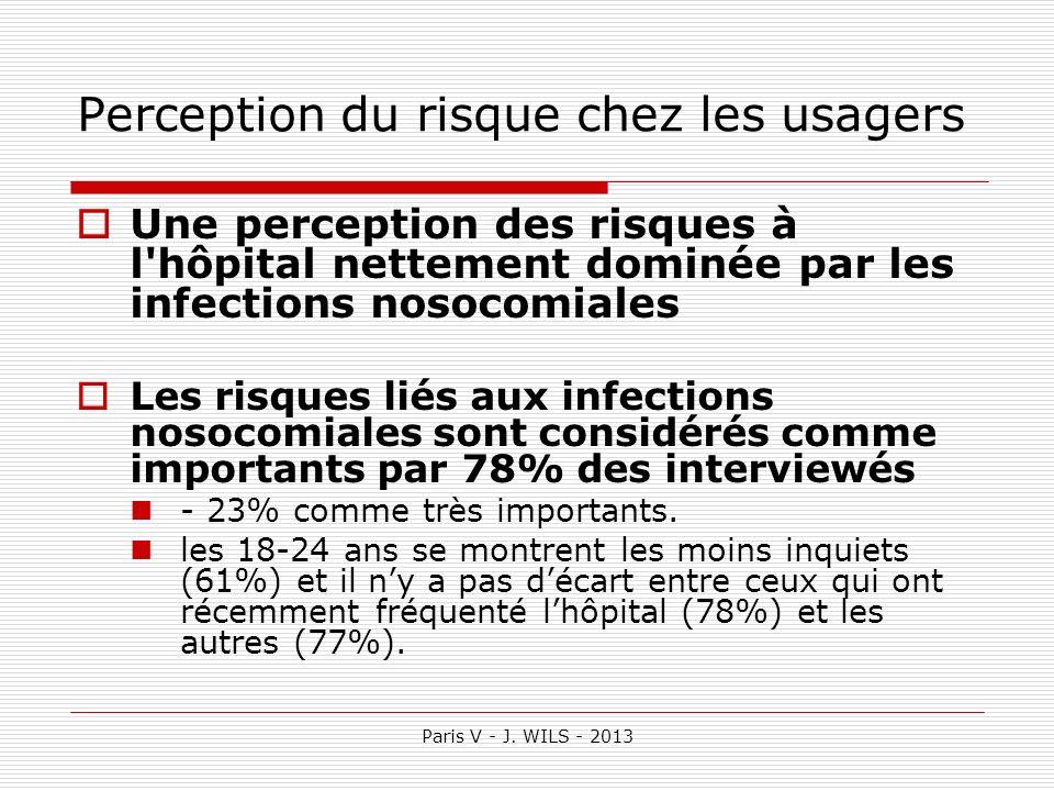 Paris V - J. WILS - 2013 Perception du risque chez les usagers Une perception des risques à l'hôpital nettement dominée par les infections nosocomiale