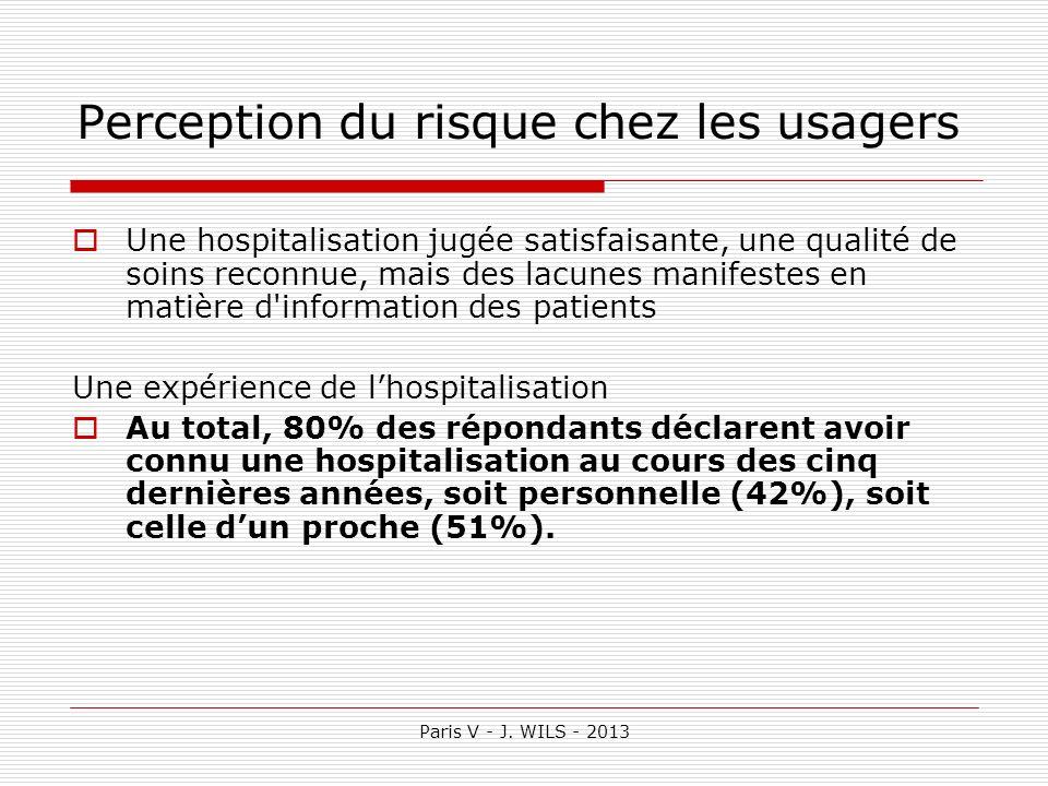 Paris V - J. WILS - 2013 Perception du risque chez les usagers Une hospitalisation jugée satisfaisante, une qualité de soins reconnue, mais des lacune