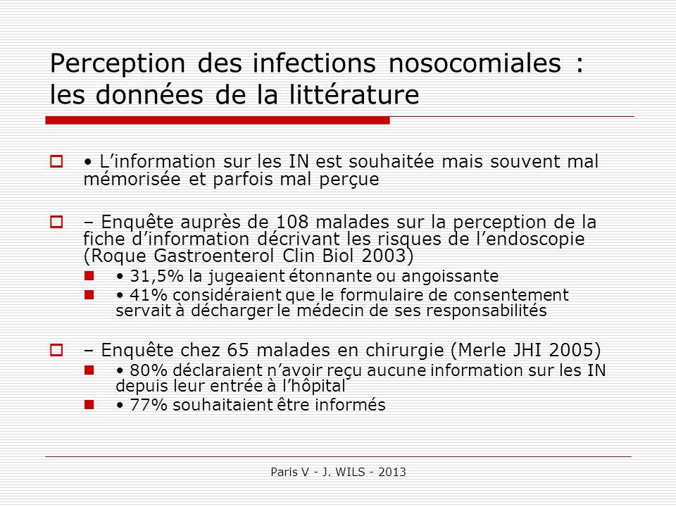 Paris V - J. WILS - 2013 Perception des infections nosocomiales : les données de la littérature Linformation sur les IN est souhaitée mais souvent mal