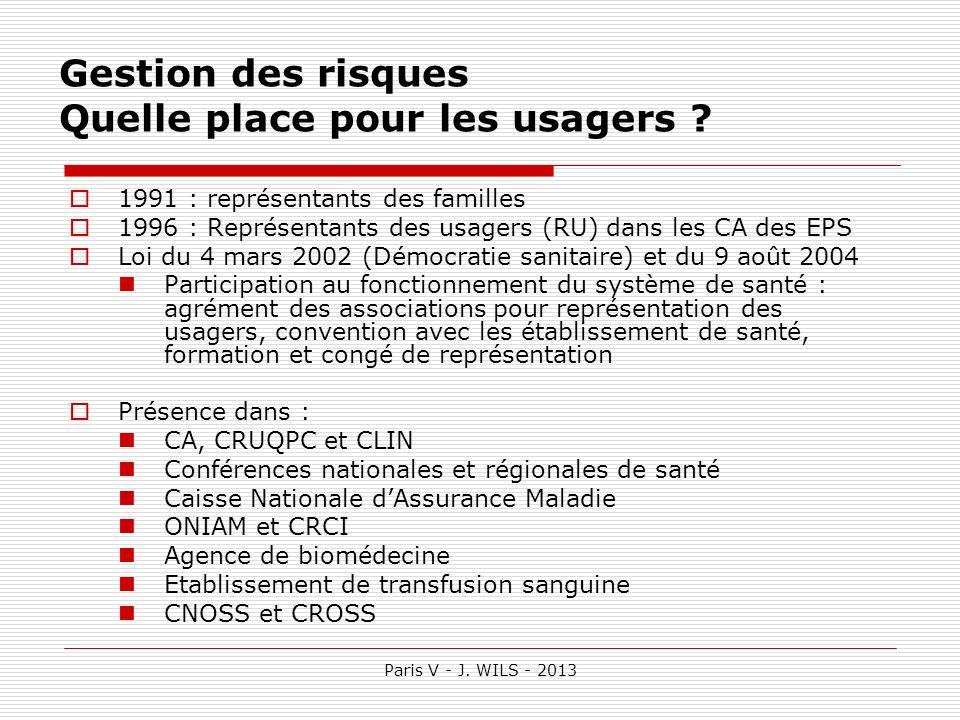 Paris V - J. WILS - 2013 Gestion des risques Quelle place pour les usagers ? 1991 : représentants des familles 1996 : Représentants des usagers (RU) d