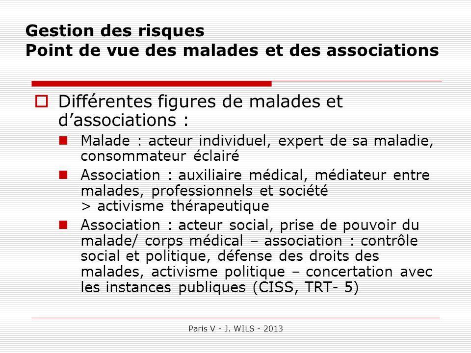 Paris V - J. WILS - 2013 Gestion des risques Point de vue des malades et des associations Différentes figures de malades et dassociations : Malade : a