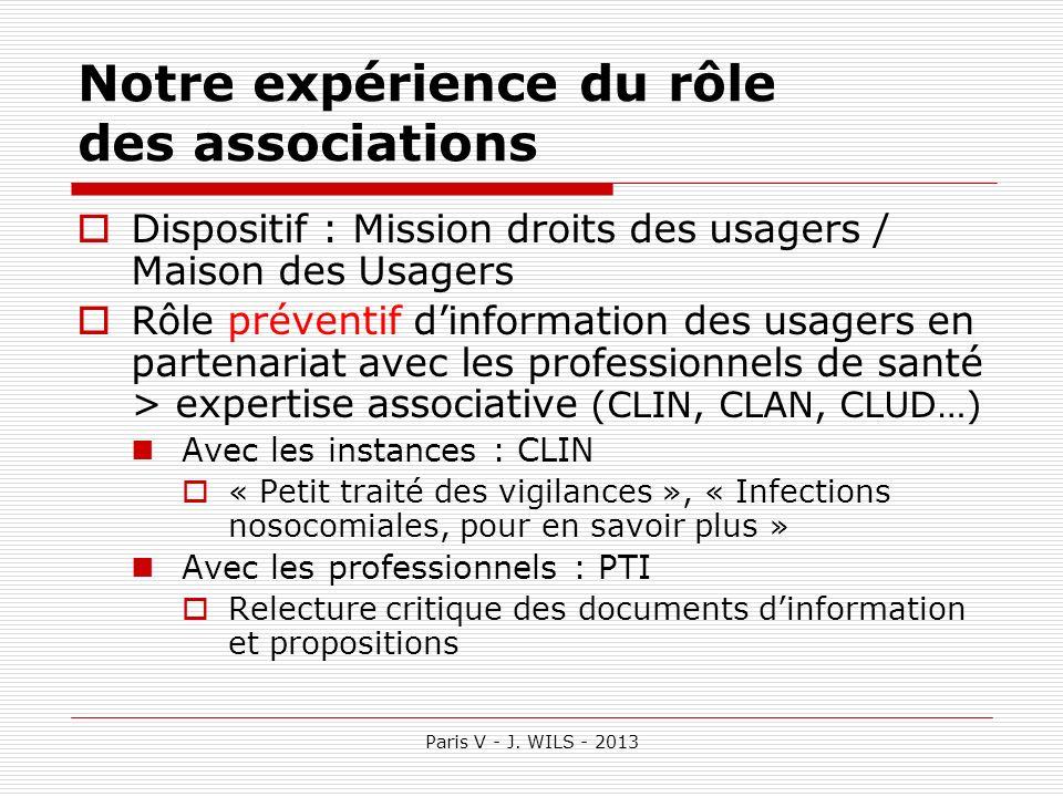 Paris V - J. WILS - 2013 Notre expérience du rôle des associations Dispositif : Mission droits des usagers / Maison des Usagers Rôle préventif dinform