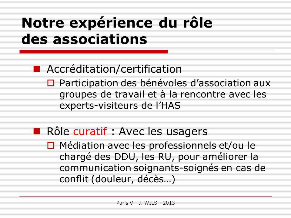 Paris V - J. WILS - 2013 Notre expérience du rôle des associations Accréditation/certification Participation des bénévoles dassociation aux groupes de