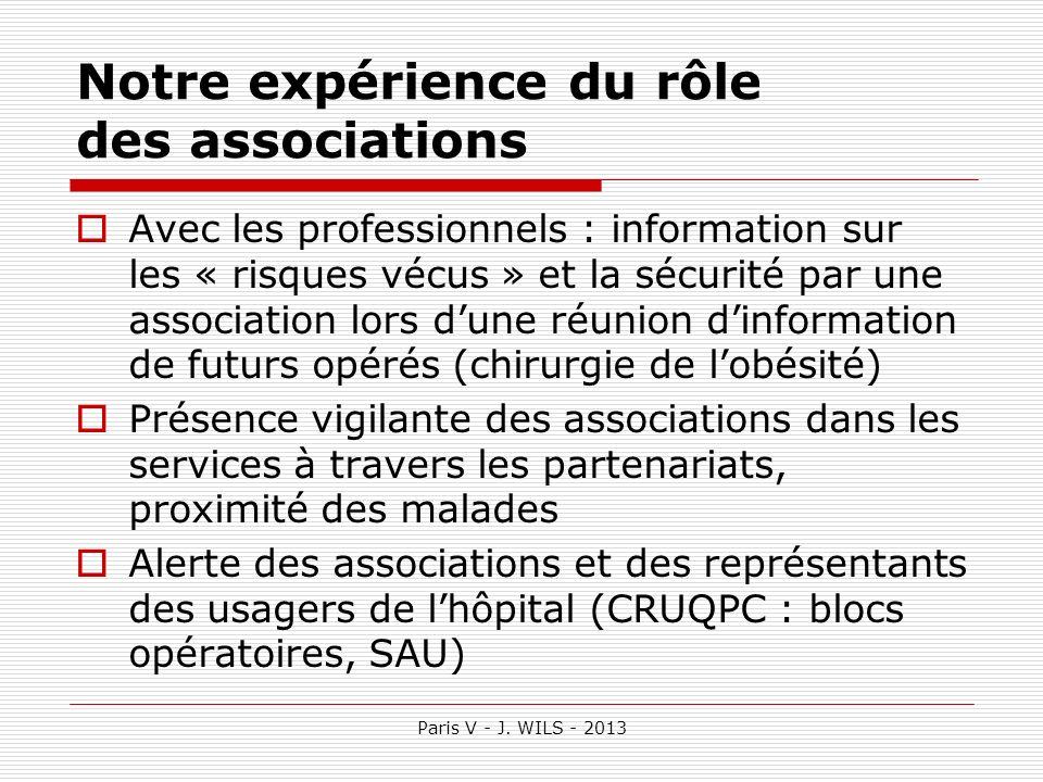 Paris V - J. WILS - 2013 Notre expérience du rôle des associations Avec les professionnels : information sur les « risques vécus » et la sécurité par
