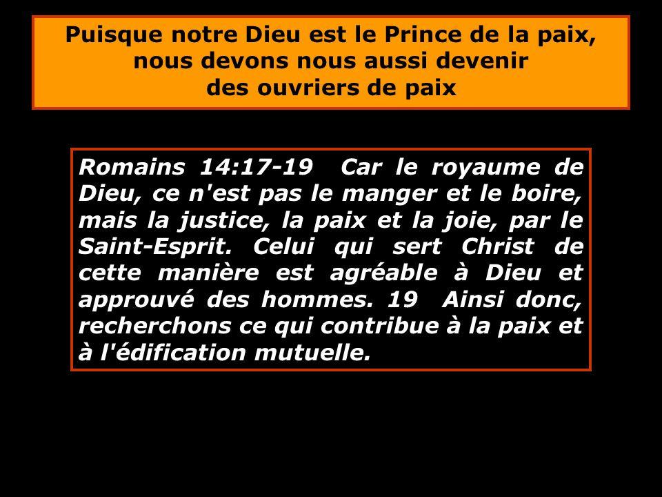 Romains 14:17-19 Car le royaume de Dieu, ce n'est pas le manger et le boire, mais la justice, la paix et la joie, par le Saint-Esprit. Celui qui sert