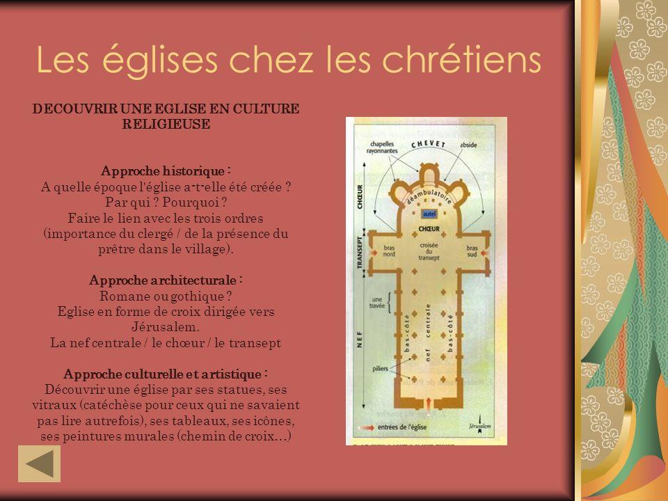Les églises chez les chrétiens DECOUVRIR UNE EGLISE EN CULTURE RELIGIEUSE Approche historique : A quelle époque l église a-t-elle été créée .