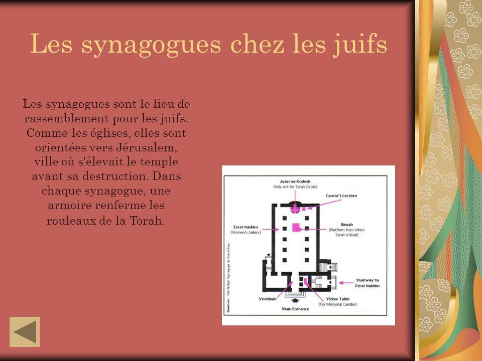 Les synagogues chez les juifs Les synagogues sont le lieu de rassemblement pour les juifs.