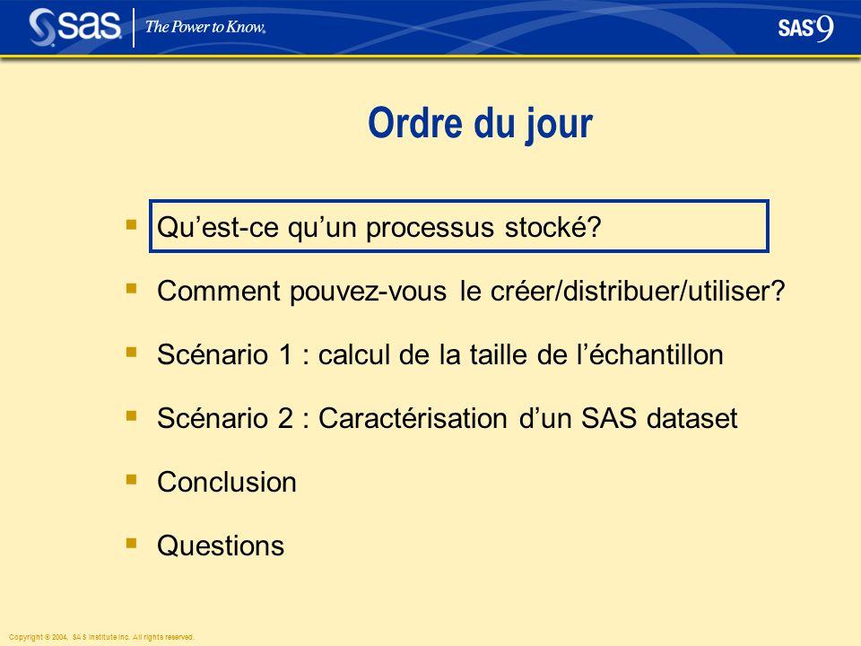 Ordre du jour Quest-ce quun processus stocké. Comment pouvez-vous le créer/distribuer/utiliser.