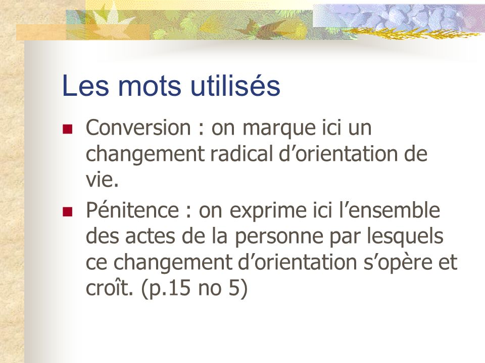 Les mots utilisés Conversion : on marque ici un changement radical dorientation de vie. Pénitence : on exprime ici lensemble des actes de la personne