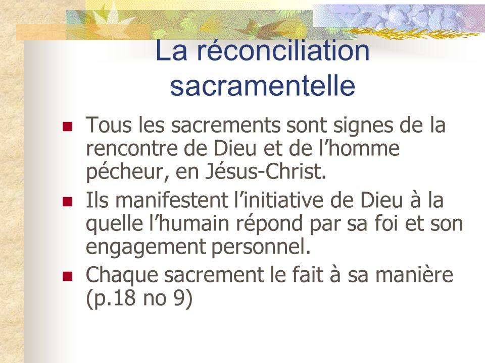 Tous les sacrements sont signes de la rencontre de Dieu et de lhomme pécheur, en Jésus-Christ. Ils manifestent linitiative de Dieu à la quelle lhumain