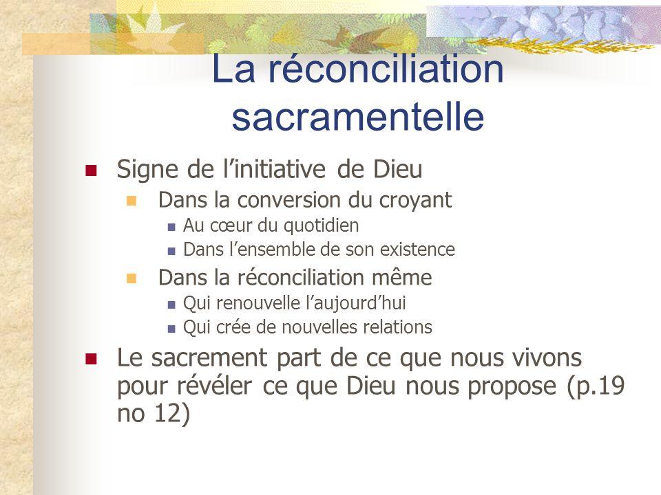 La réconciliation sacramentelle Signe de linitiative de Dieu Dans la conversion du croyant Au cœur du quotidien Dans lensemble de son existence Dans l