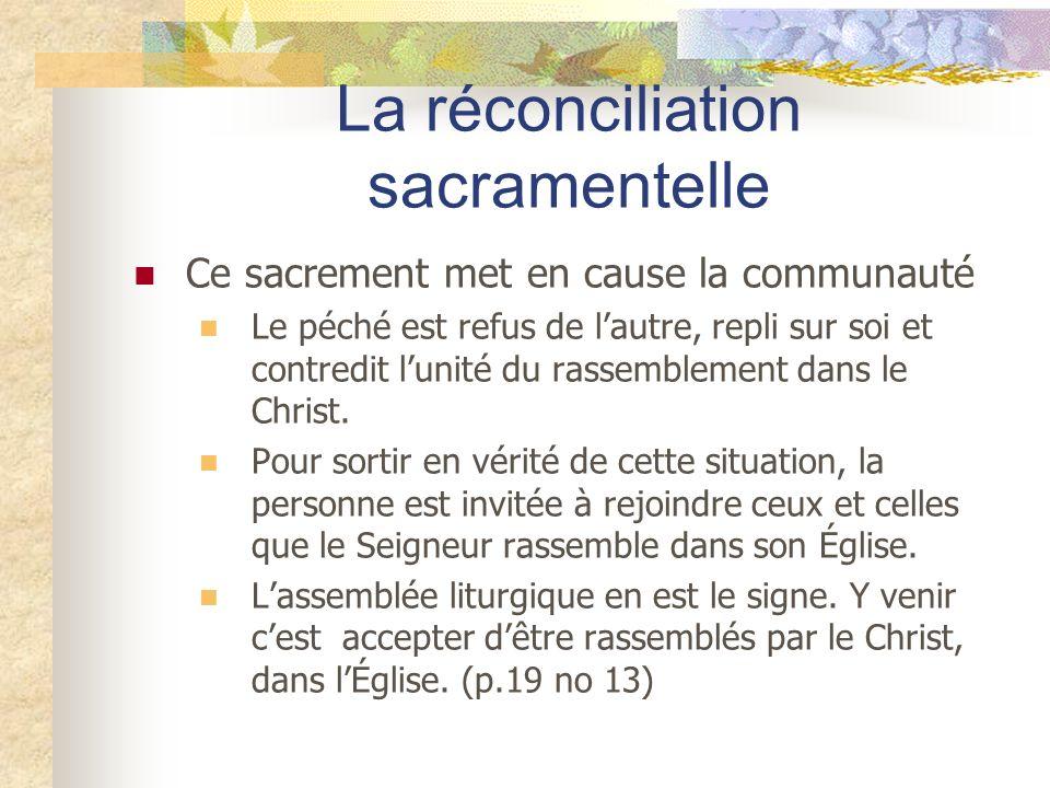 La réconciliation sacramentelle Ce sacrement met en cause la communauté Le péché est refus de lautre, repli sur soi et contredit lunité du rassembleme