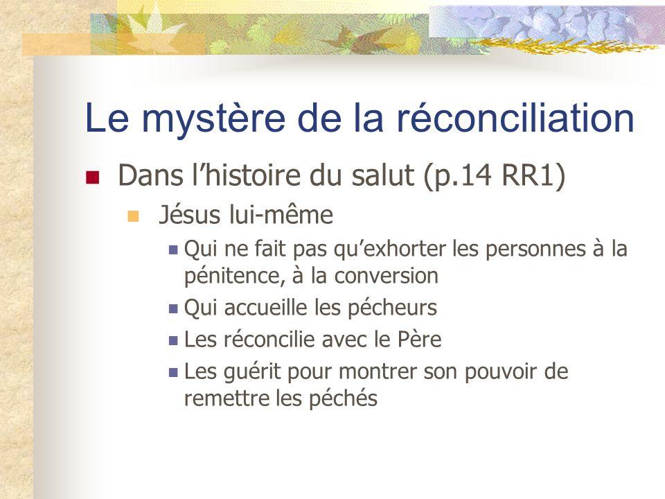Le mystère de la réconciliation Dans lhistoire du salut (p.14 RR1) Jésus lui-même Qui ne fait pas quexhorter les personnes à la pénitence, à la conver