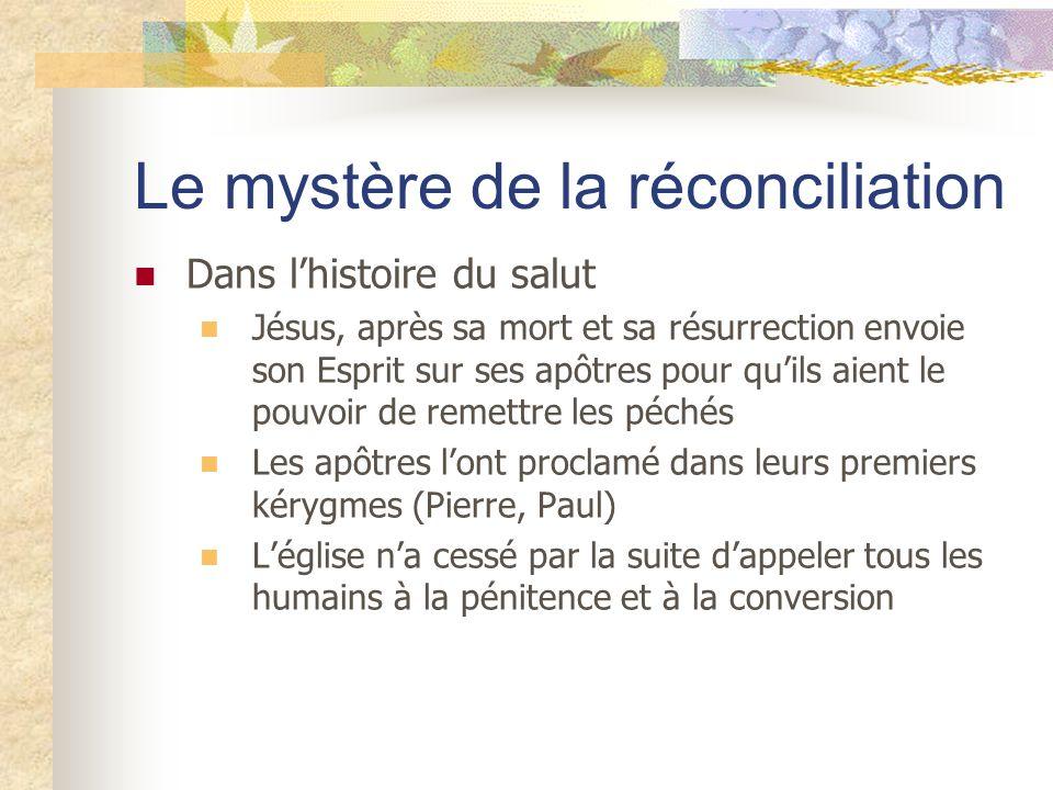 Le mystère de la réconciliation Dans lhistoire du salut Jésus, après sa mort et sa résurrection envoie son Esprit sur ses apôtres pour quils aient le
