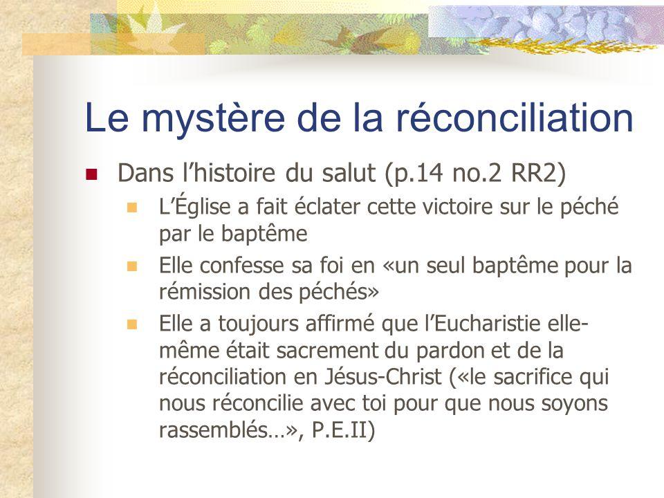 Le mystère de la réconciliation Dans lhistoire du salut (p.14 no.2 RR2) LÉglise a fait éclater cette victoire sur le péché par le baptême Elle confess