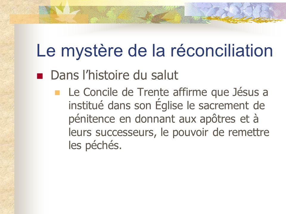 Le mystère de la réconciliation Dans lhistoire du salut Le Concile de Trente affirme que Jésus a institué dans son Église le sacrement de pénitence en