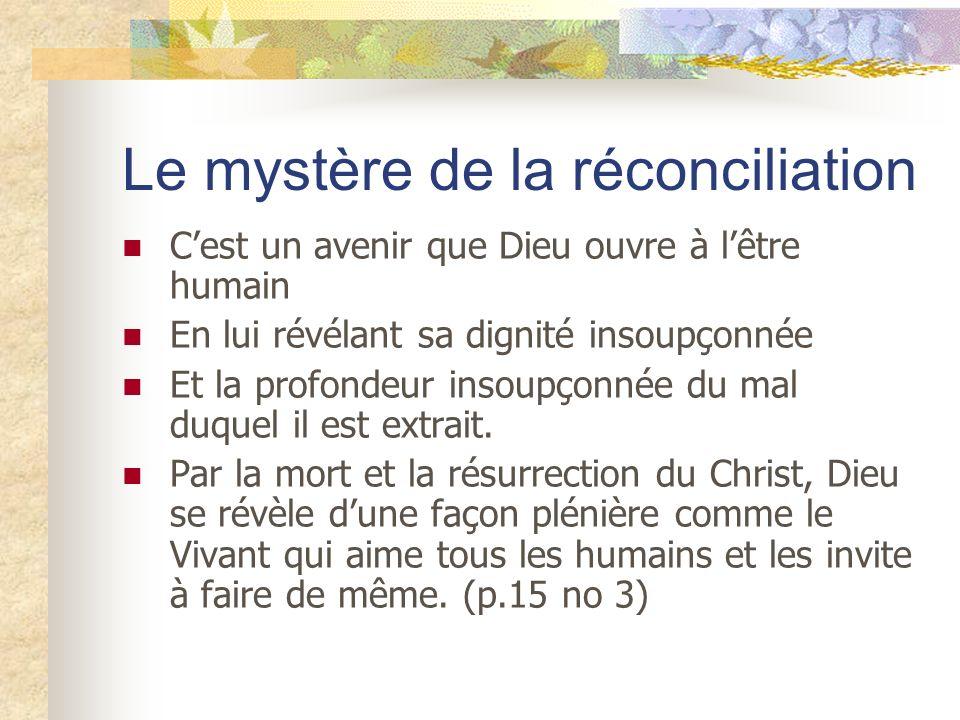 Le mystère de la réconciliation Cest un avenir que Dieu ouvre à lêtre humain En lui révélant sa dignité insoupçonnée Et la profondeur insoupçonnée du