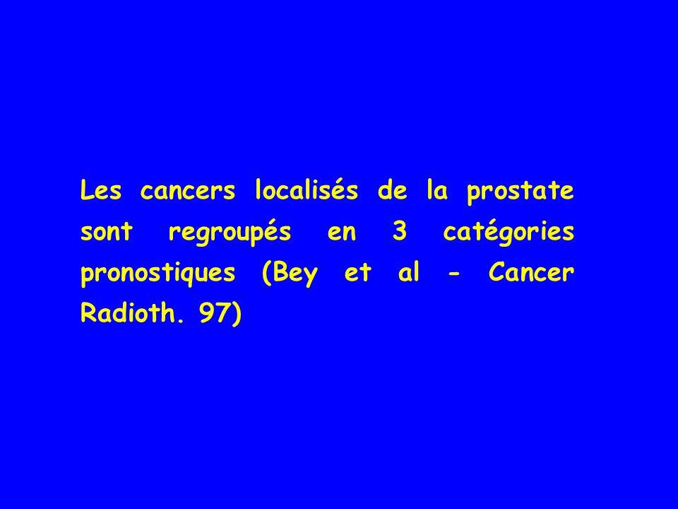 Les cancers localisés de la prostate sont regroupés en 3 catégories pronostiques (Bey et al - Cancer Radioth. 97)
