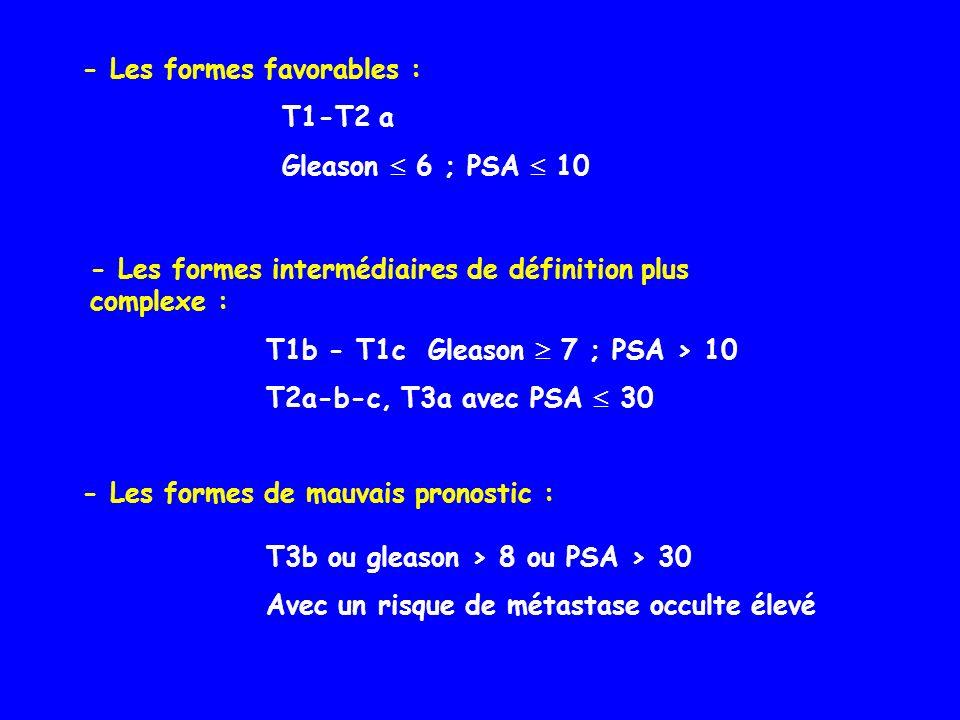 - Les formes favorables : - Les formes intermédiaires de définition plus complexe : T1b - T1c Gleason 7 ; PSA > 10 T2a-b-c, T3a avec PSA 30 - Les form