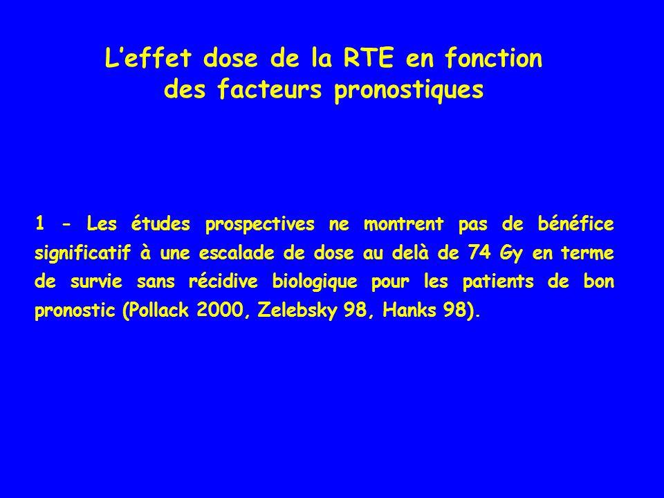 Leffet dose de la RTE en fonction des facteurs pronostiques 1 - Les études prospectives ne montrent pas de bénéfice significatif à une escalade de dos