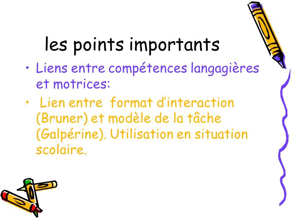 les points importants Liens entre compétences langagières et motrices: Lien entre format dinteraction (Bruner) et modèle de la tâche (Galpérine). Util