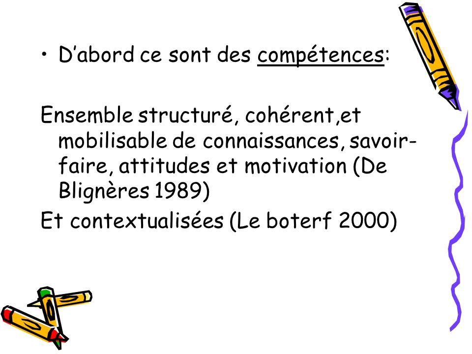 Dabord ce sont des compétences: Ensemble structuré, cohérent,et mobilisable de connaissances, savoir- faire, attitudes et motivation (De Blignères 198