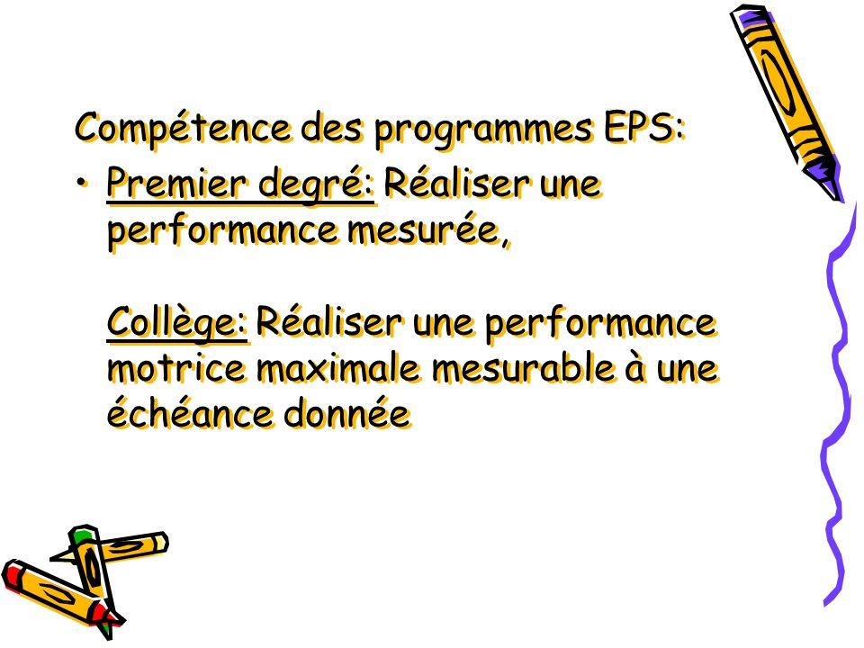 Compétence des programmes EPS: Premier degré: Réaliser une performance mesurée, Collège: Réaliser une performance motrice maximale mesurable à une éch
