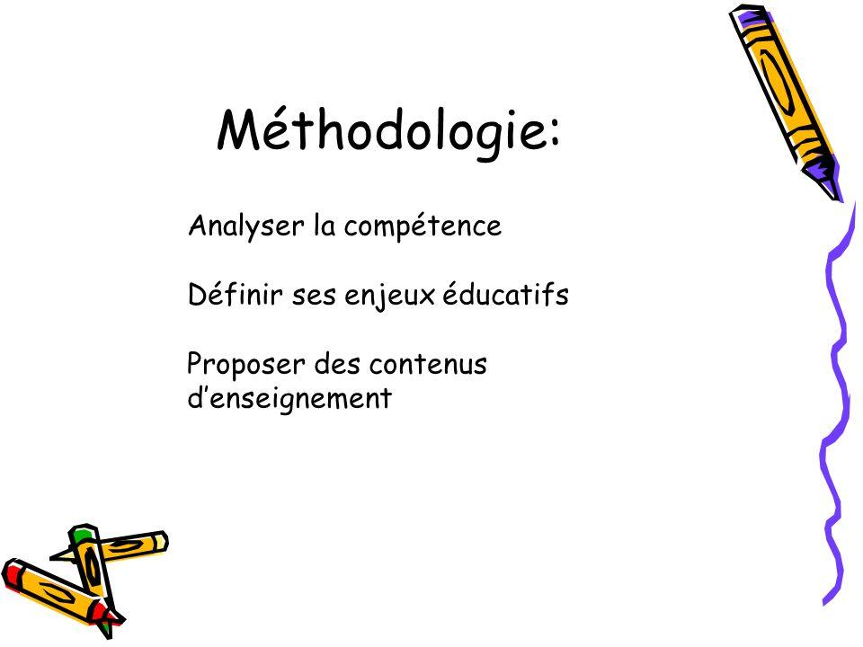Méthodologie: Analyser la compétence Définir ses enjeux éducatifs Proposer des contenus denseignement